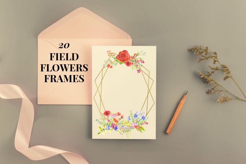 20 Geometric Framesw With Field Flowers, Poppy Wedding Frame example image 1
