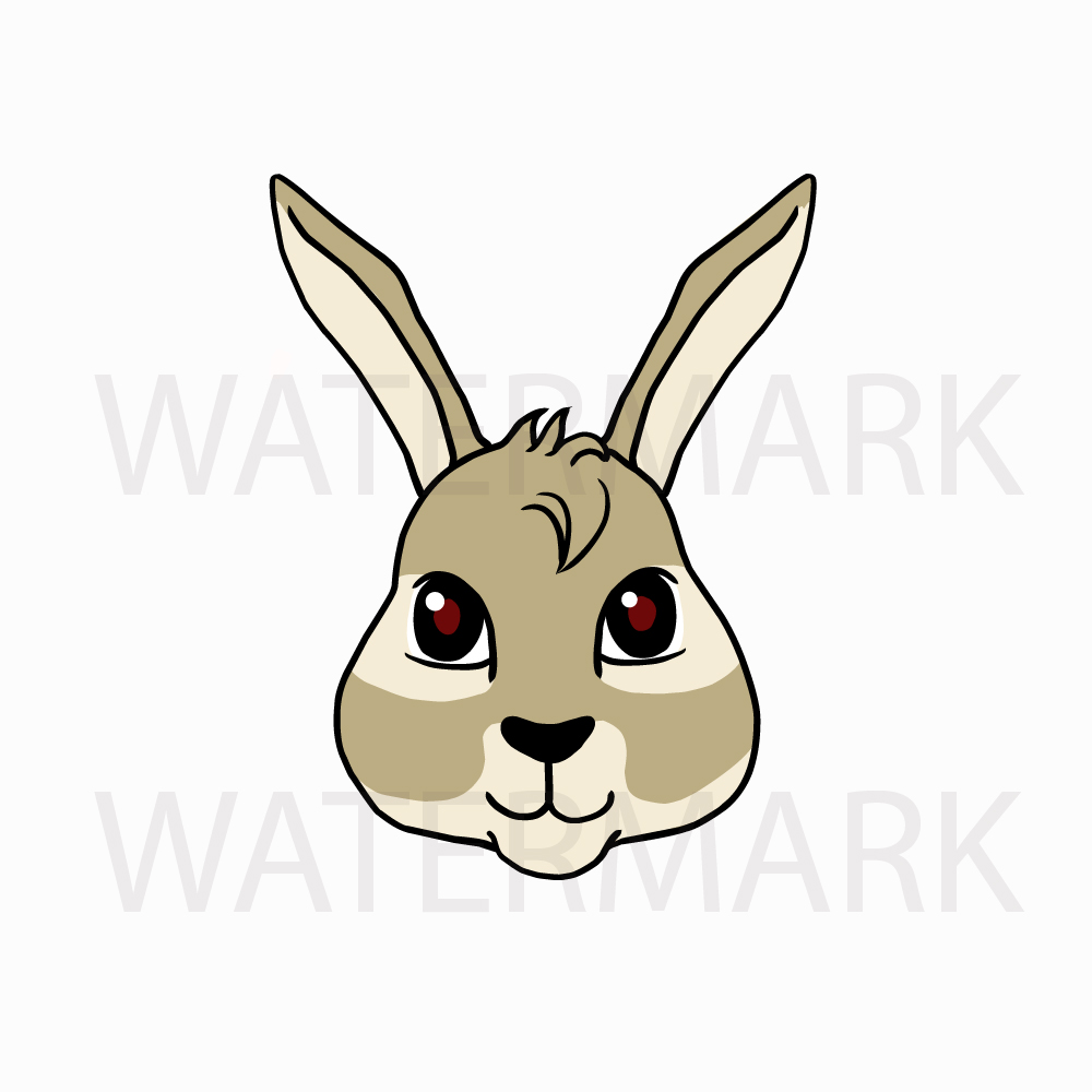 Bunny Rabbit Head so Cute! - SVG/JPG/PNG Hand Drawing example image 3