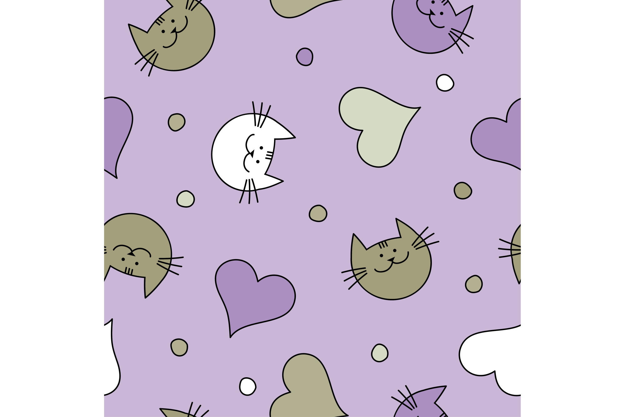Seamless vector background with decorative cats and hearts. Print. Repeating background. Cloth design, wallpaper. example image 1