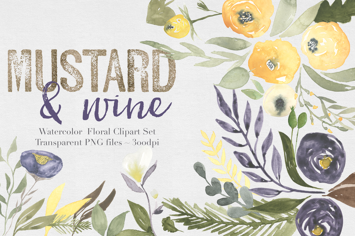 Mustard & wine Floral Clipart Set example image 1