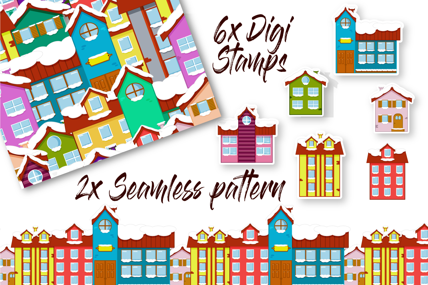 Christmas Mini Bundle - 2x Seamless Pattern and 6 Clip Arts example image 1