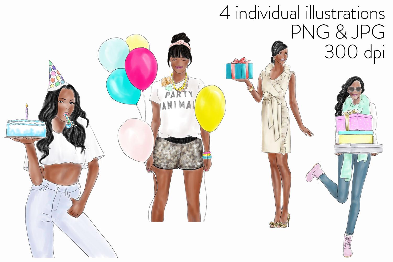 Watercolour fashion illustration clipart - Birthday girls - Dark Skin example image 2