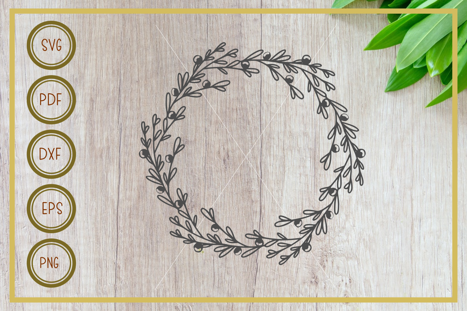Wreath svg, simple cherry, instant download, cut file example image 1