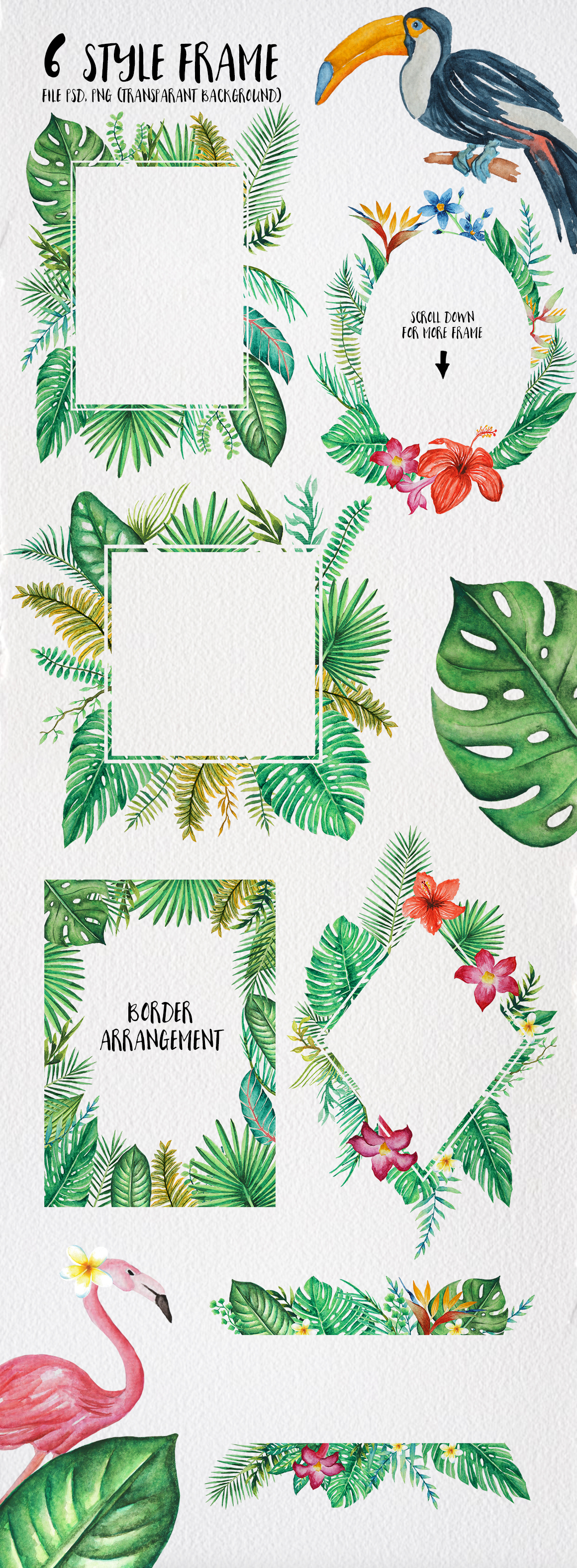 TROPICAL Watercolor clip art pack example image 6