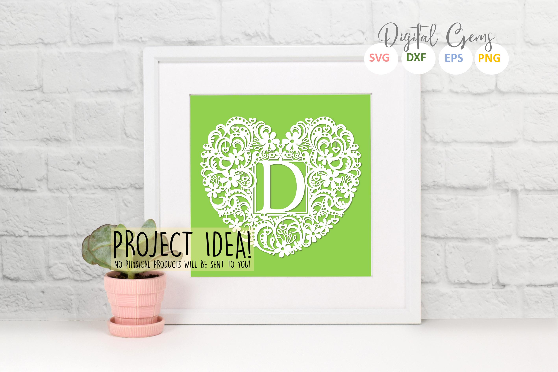 Letter D paper cut design. SVG / DXF / EPS / PNG files example image 2