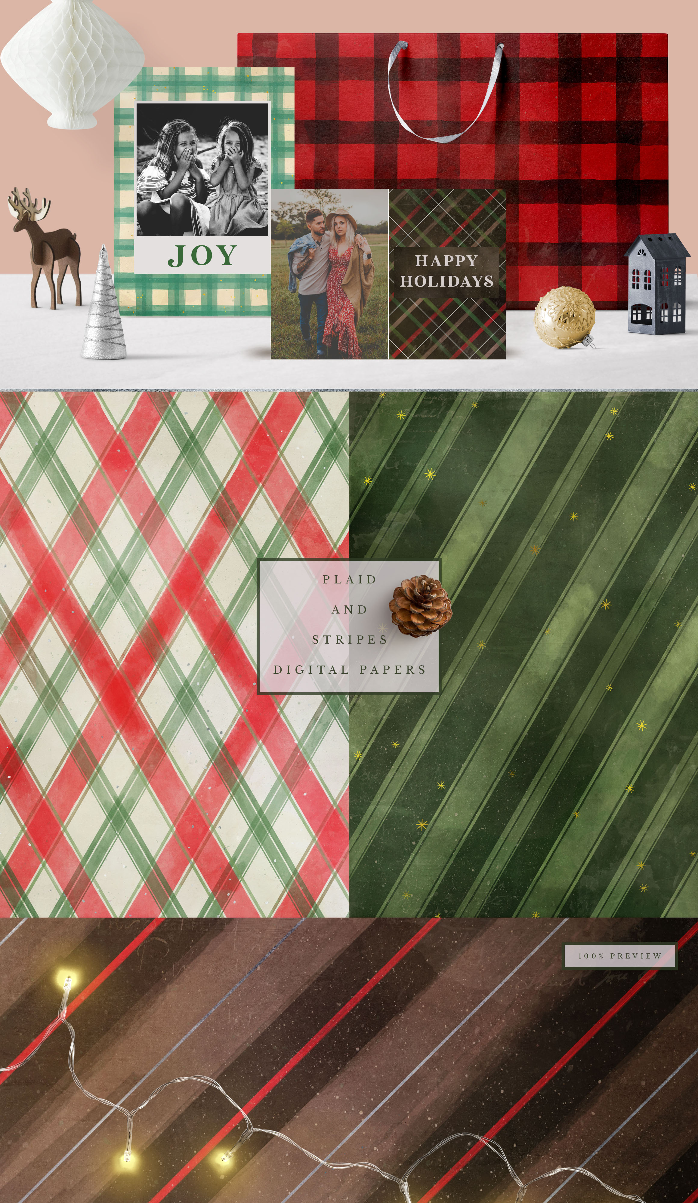 Classic Christmas Plaids and Stripes Digital Papers example image 3