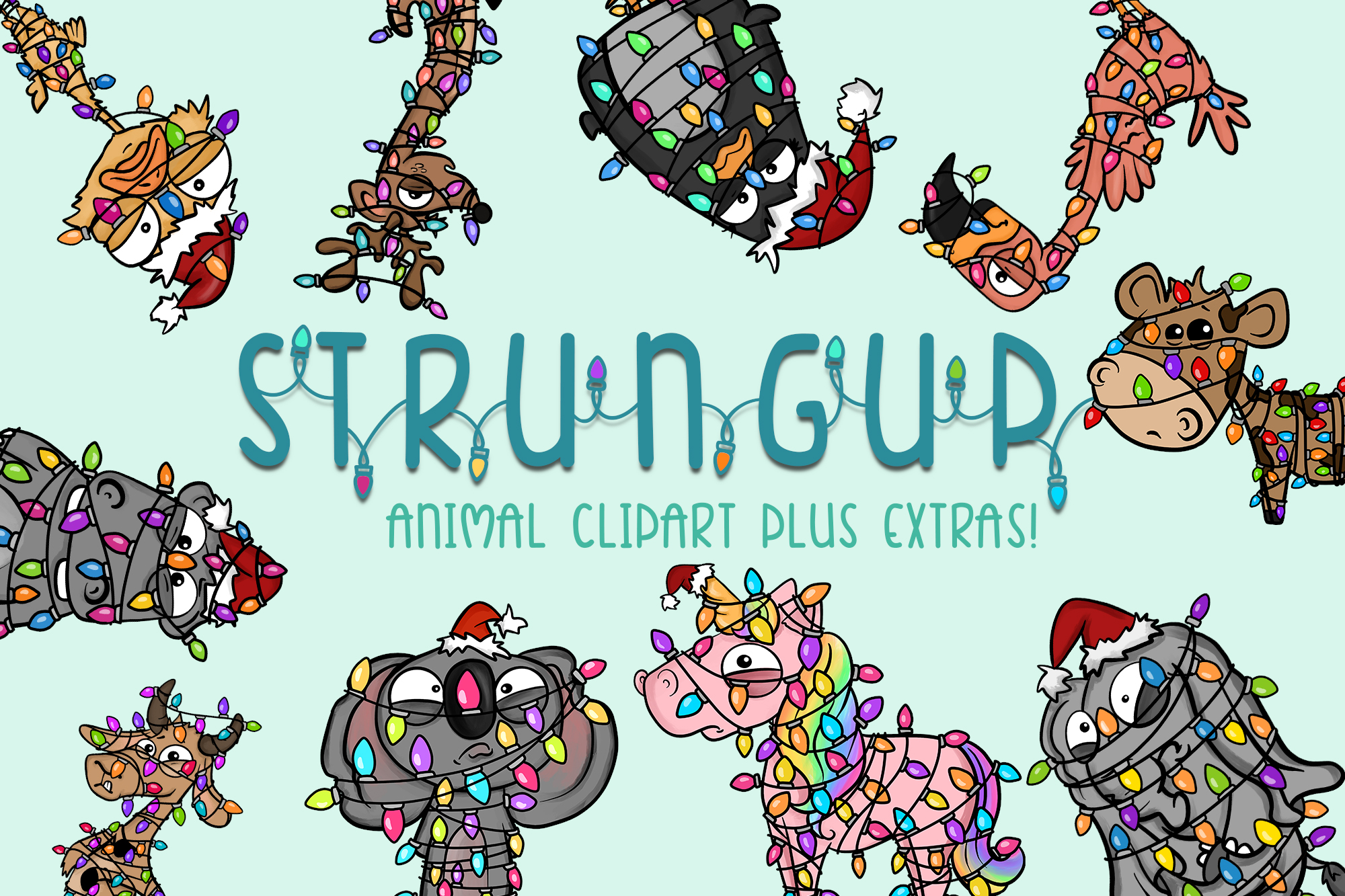 Strung Up Animals|Holiday Illustrations| Xmas Lights|Extras example image 1