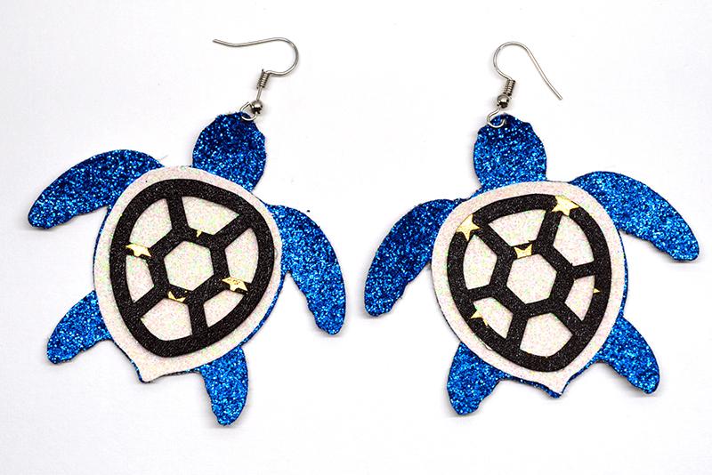 Sea turtle earrings template SVG, DIY earrings template example image 3