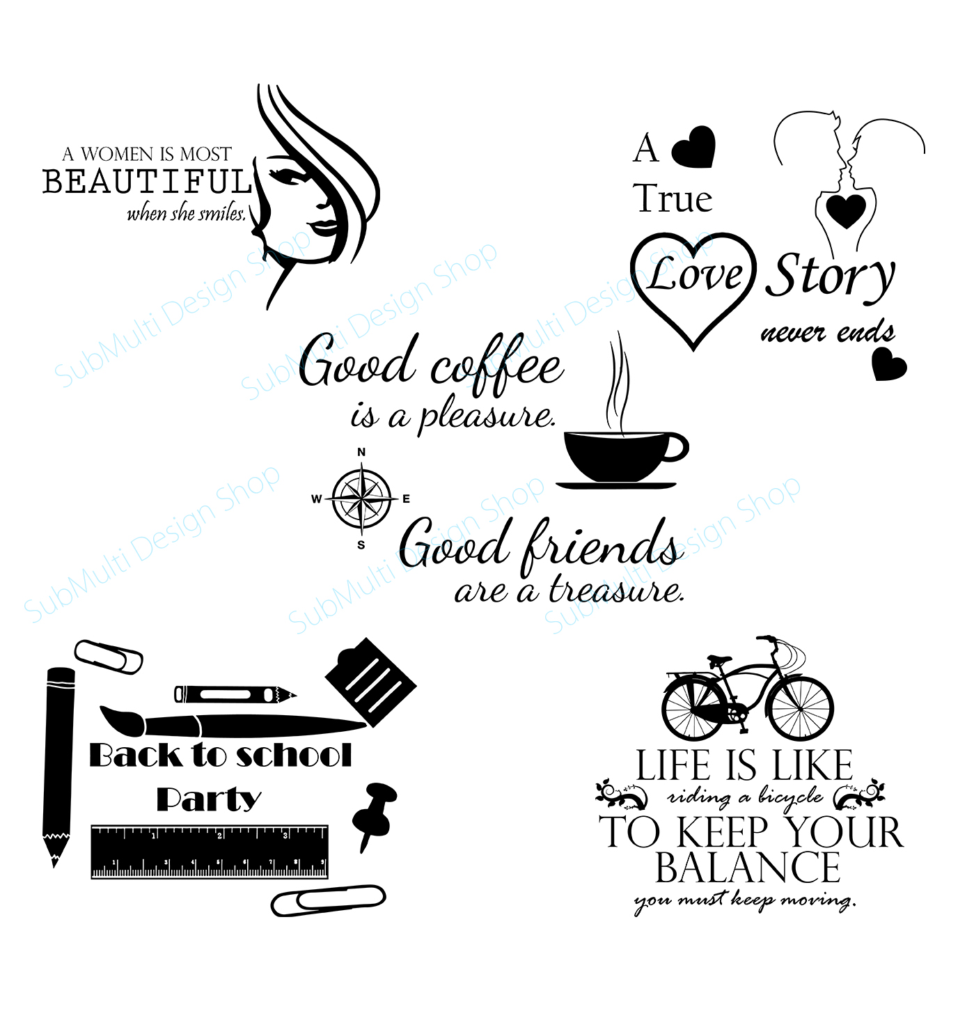 coffee svg cuttiing file / back to school svg cut file / love svg cut file / beautiful svg quote / /SVG / quotes / love silhouette / 05 set example image 1
