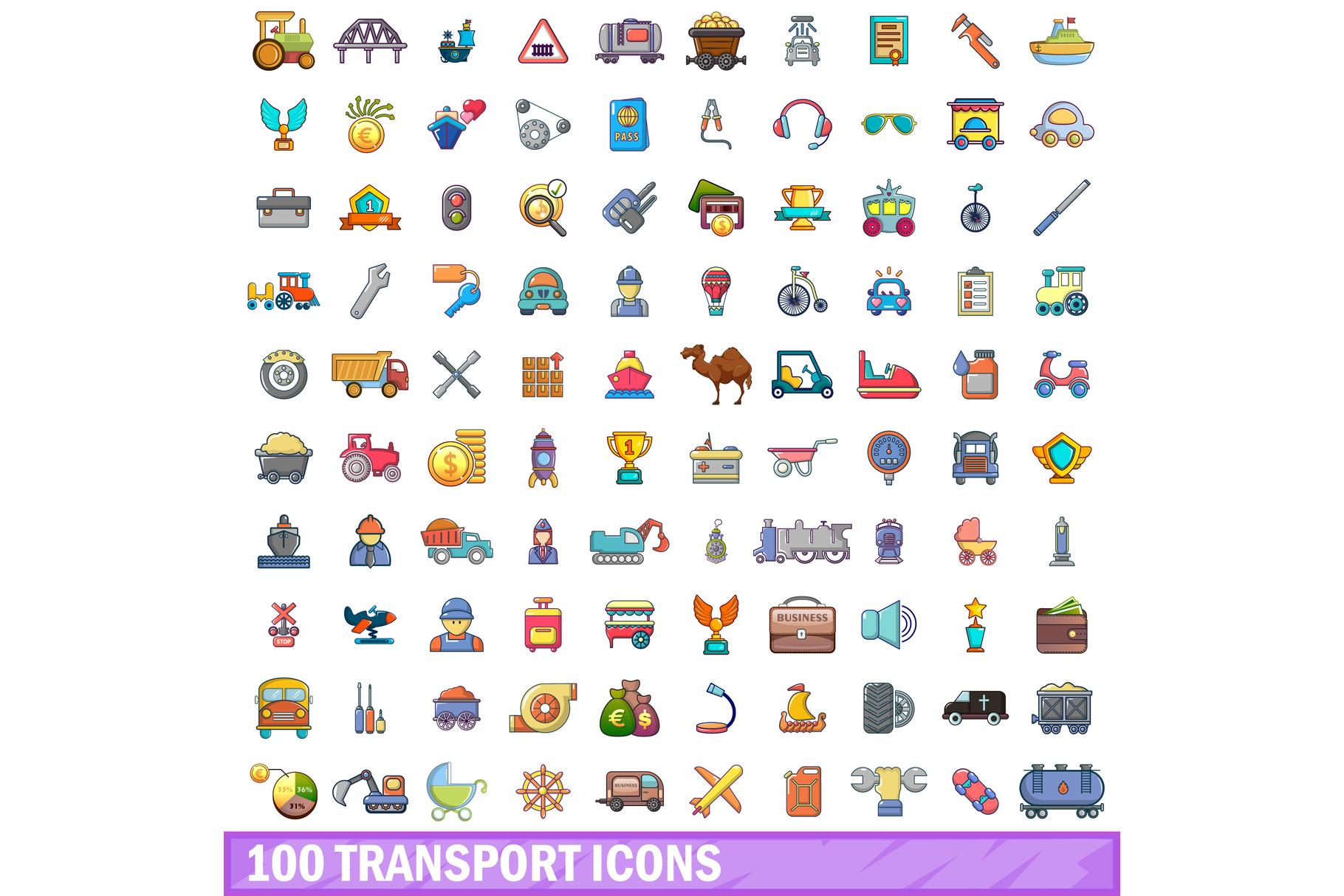 100 transport icons set, cartoon style example image 1