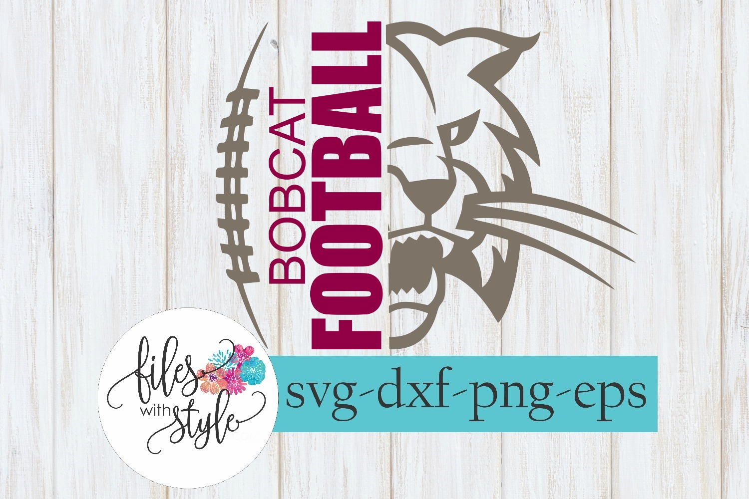 Bobcat Football School Mascot SVG Cutting File example image 1