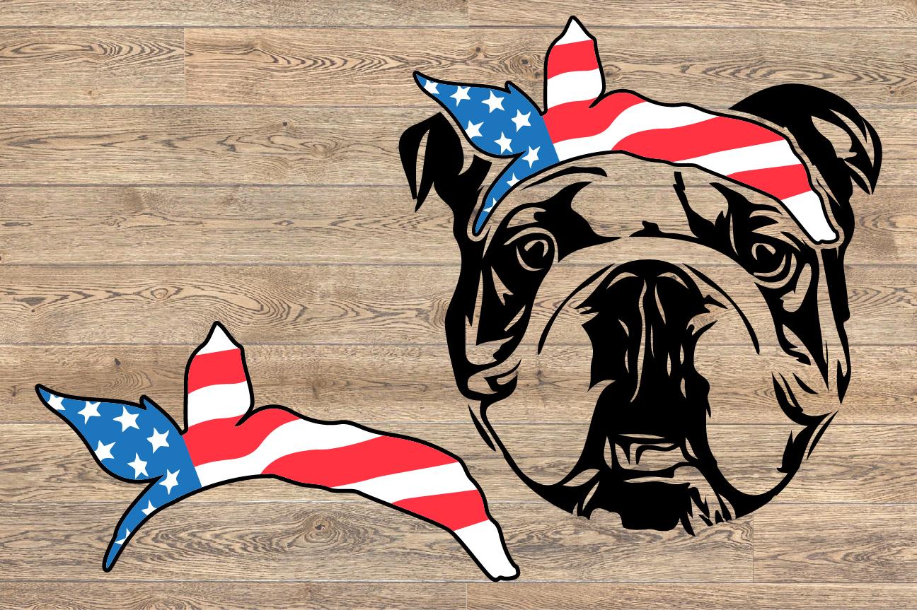 Bulldog USA Bandana Head French Dog 4th July 1370S example image 2