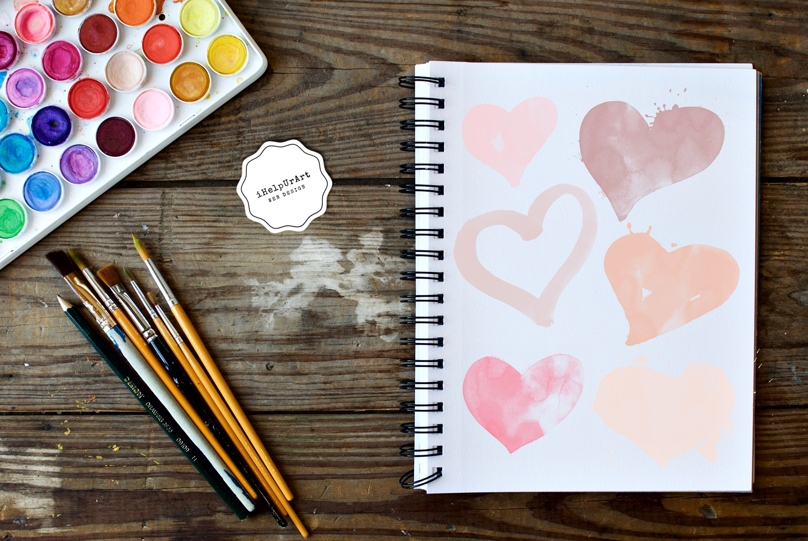 Blush Pink Watercolor Hearts Clipart example image 4