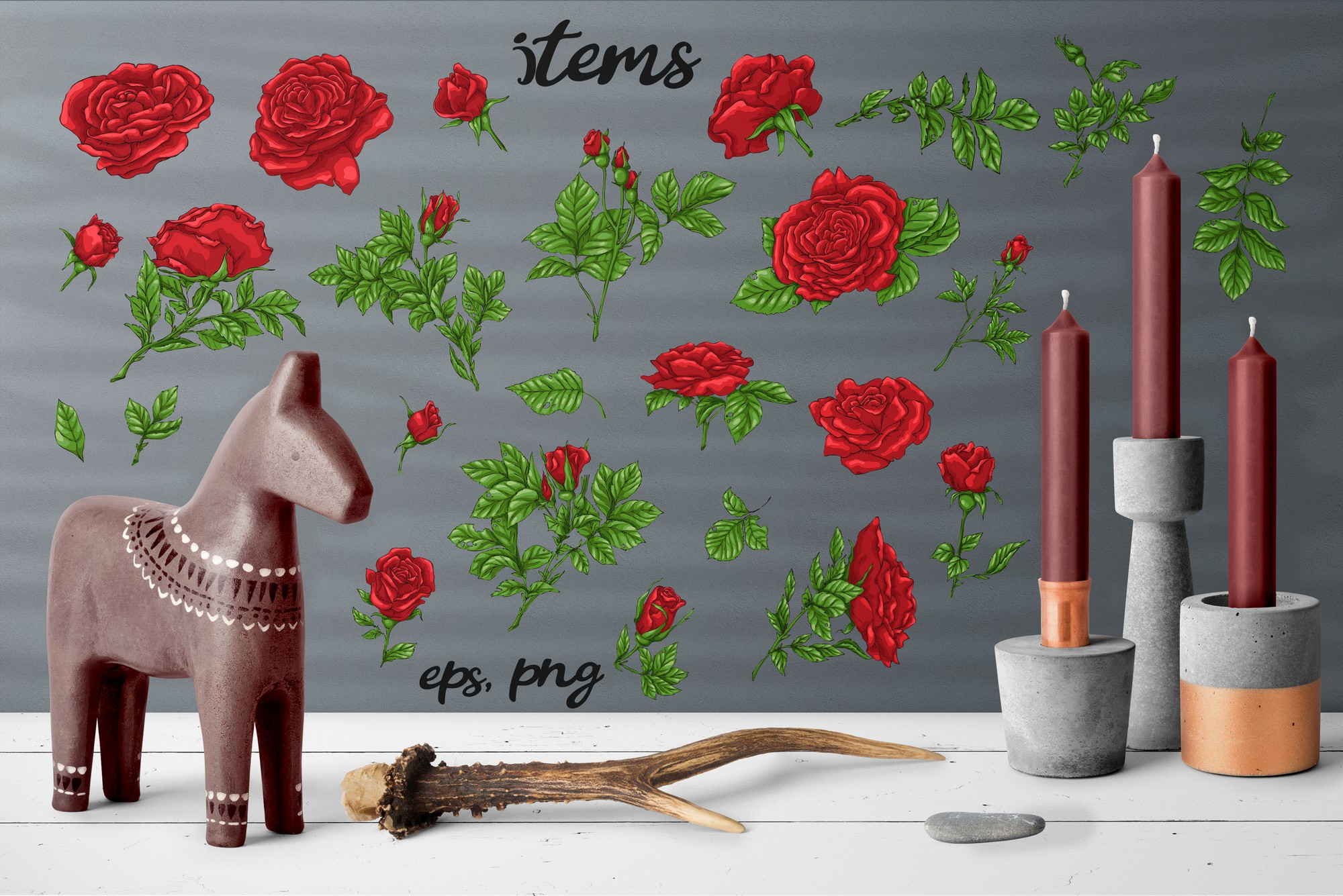 Roses – Vector Clip Art Set example image 8