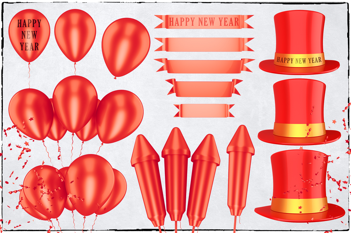 New Year 3D PNG Items Pack example image 8