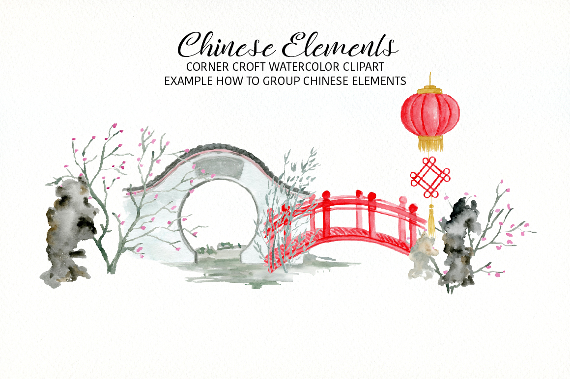 Watercolor Chinese Elements clipart example image 7