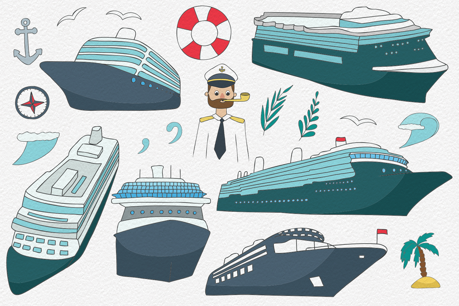 20 Cruise Ships Clipart Elements example image 2