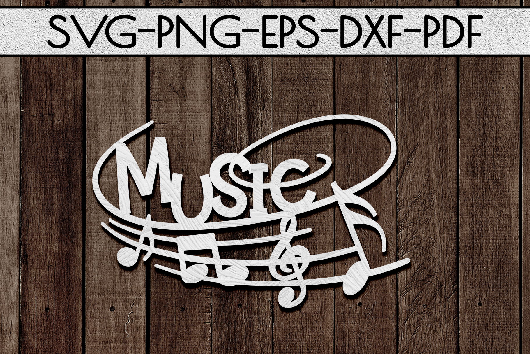 Music Sign Papercut Template, Treble Clef, Musical SVG, DXF example image 1