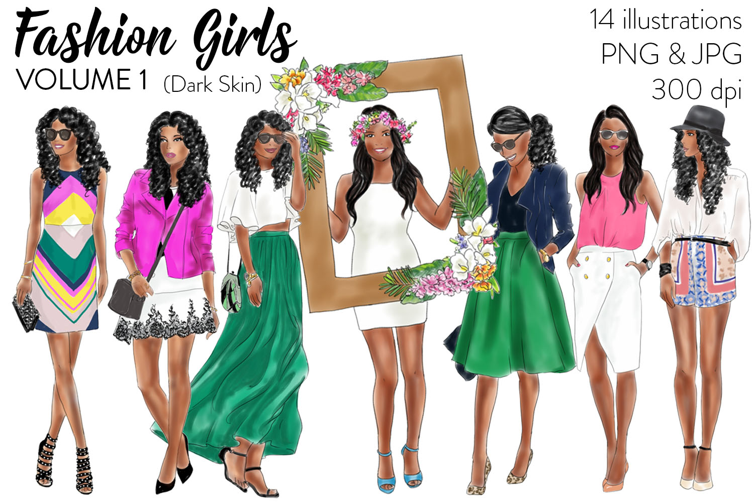 Fashion Girls - Volume 1 ( Dark skin) fashion illustration clipart example image 1