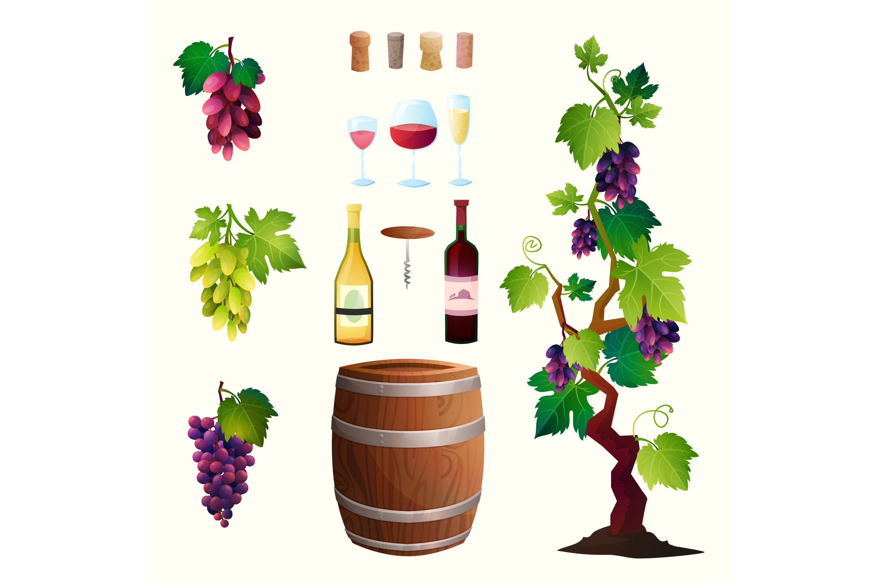 Wine vector set 15 items + 3 compositions example image 5