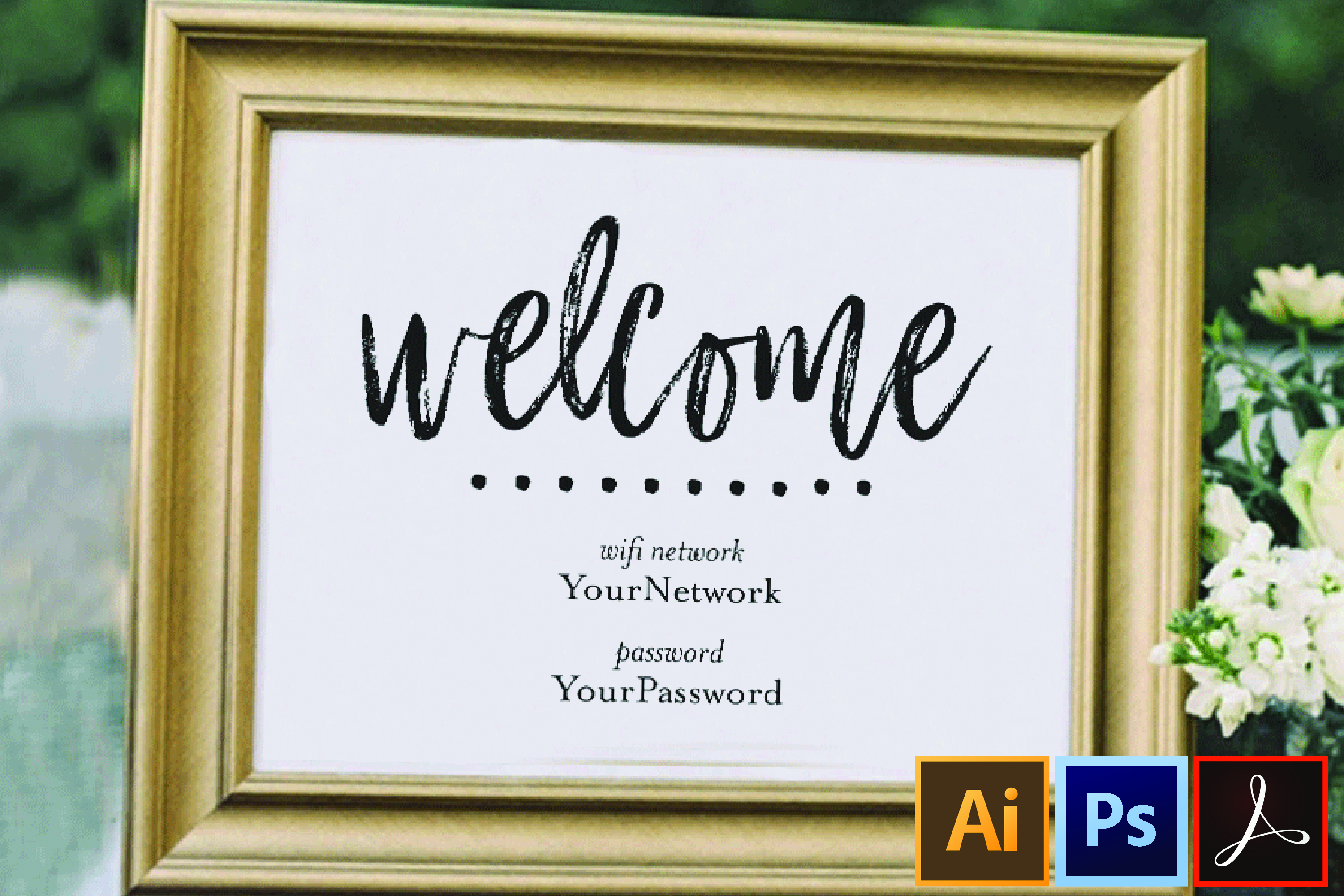 wifi password printable sign guest room sign welcome example image 1