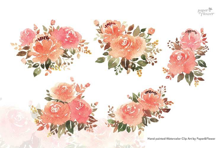 Peach Rose Floral Watercolor Bouquet Set example image 3