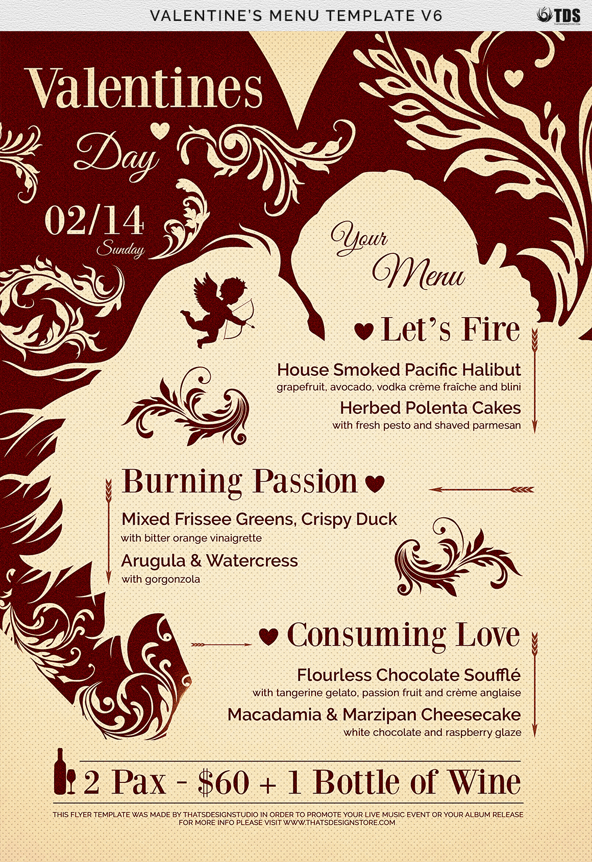 Valentines Day Menu Template V6 example image 7