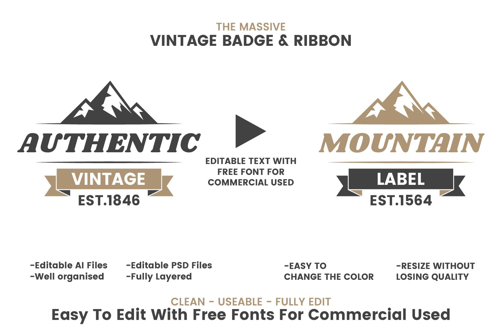 36 VINTAGE BADGE & RIBBON Vol.3 example image 3