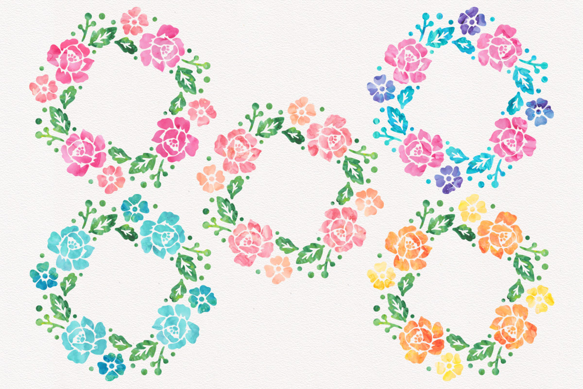 Floral Wreath Watercolor Wreaths Bundle Wedding Clipart Pack example image 2