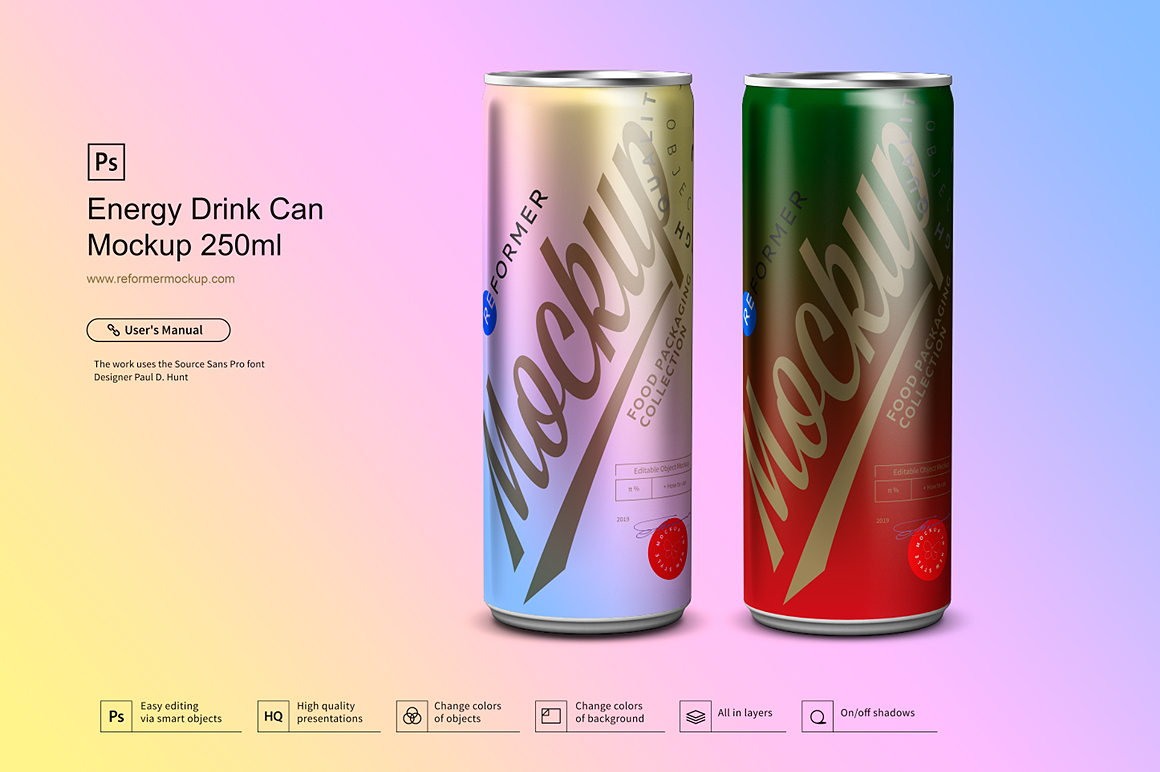 Energy Drink Can Mockup 250ml example image 3