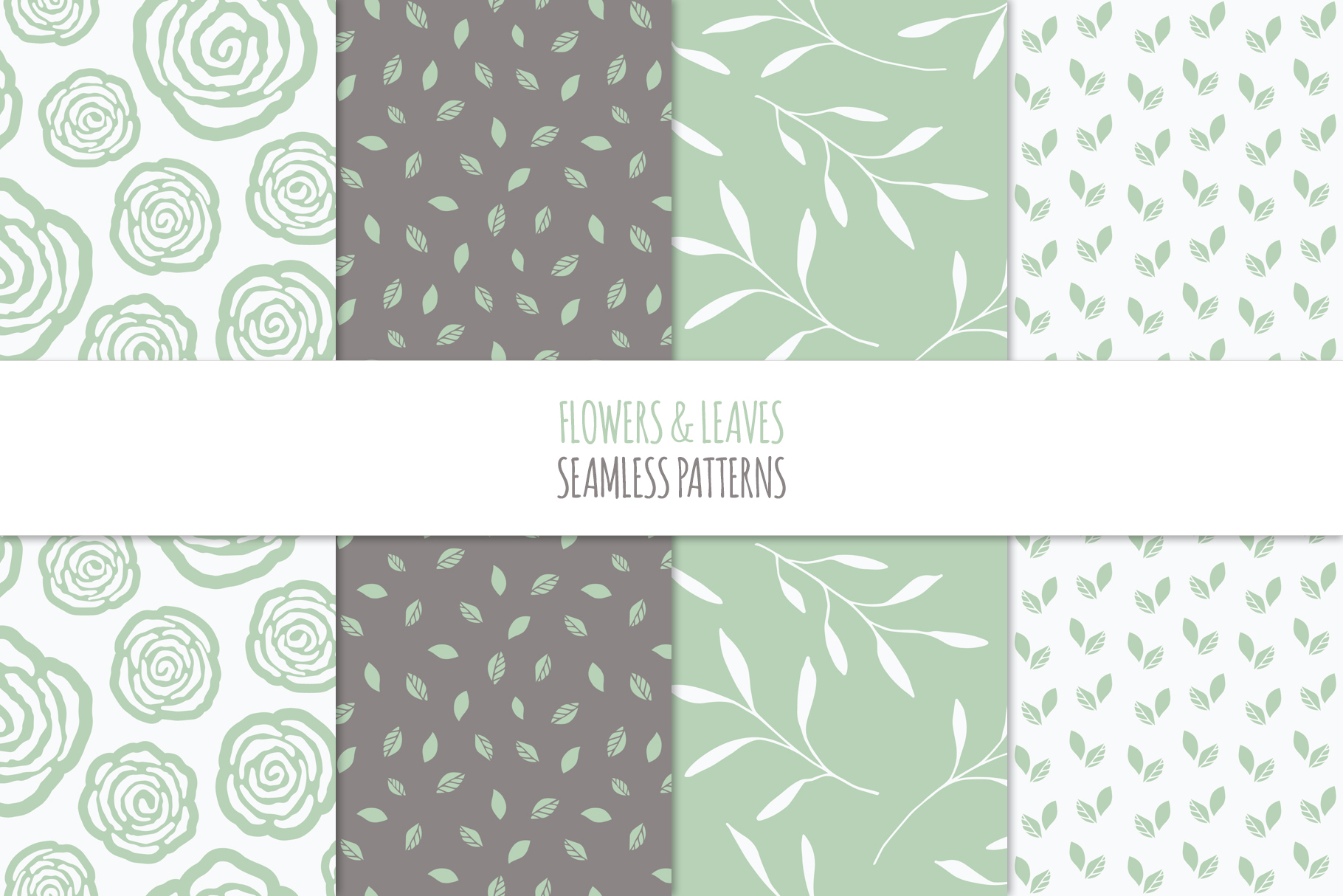 Floral Seamless Patterns - Green example image 3
