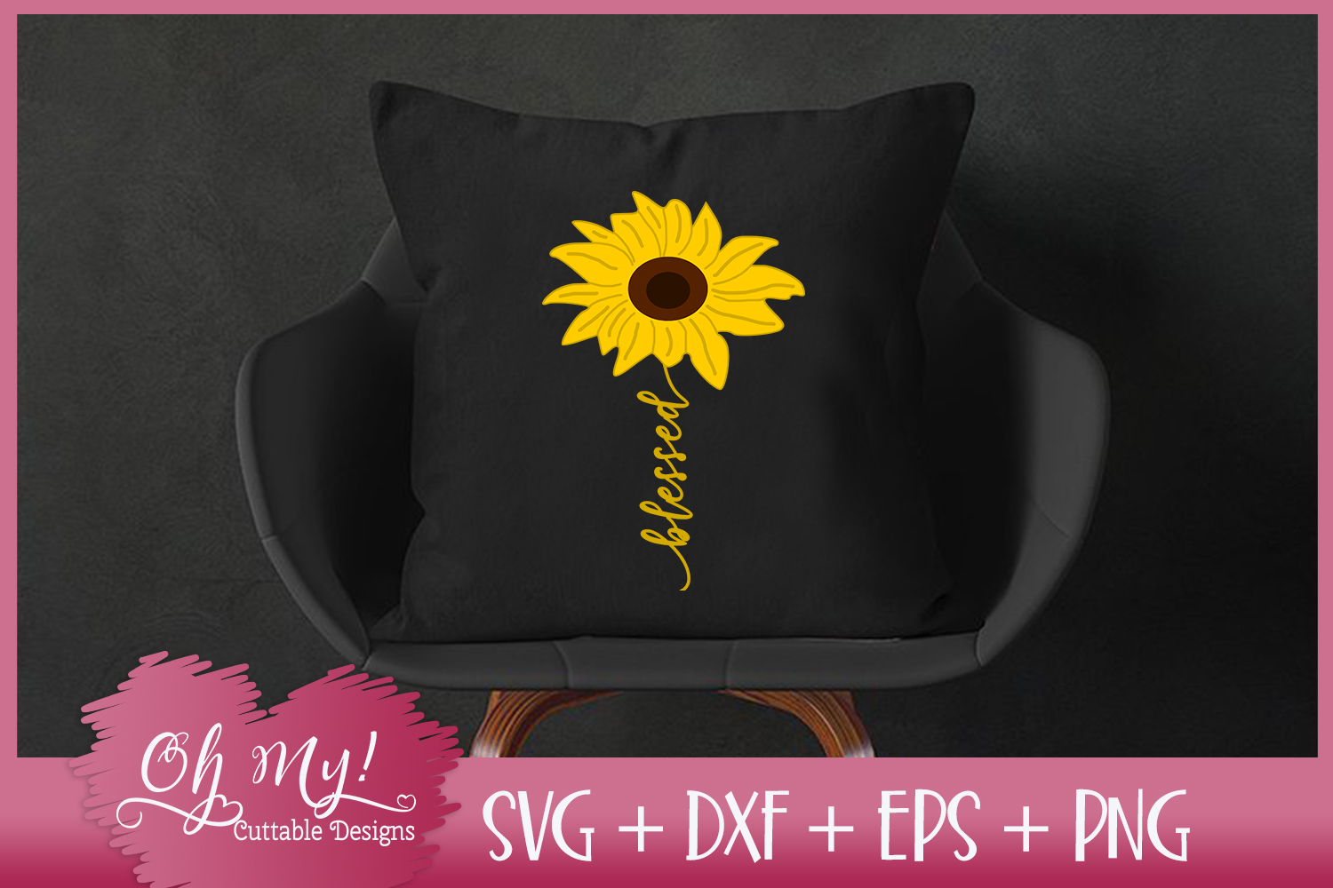 Blessed Sunflower - SVG EPS DXF PNG Cutting File example image 1