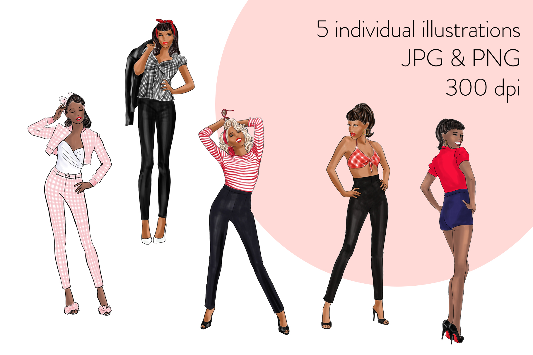 Fashion illustration clipart - Pin up Girls - Dark Skin example image 2