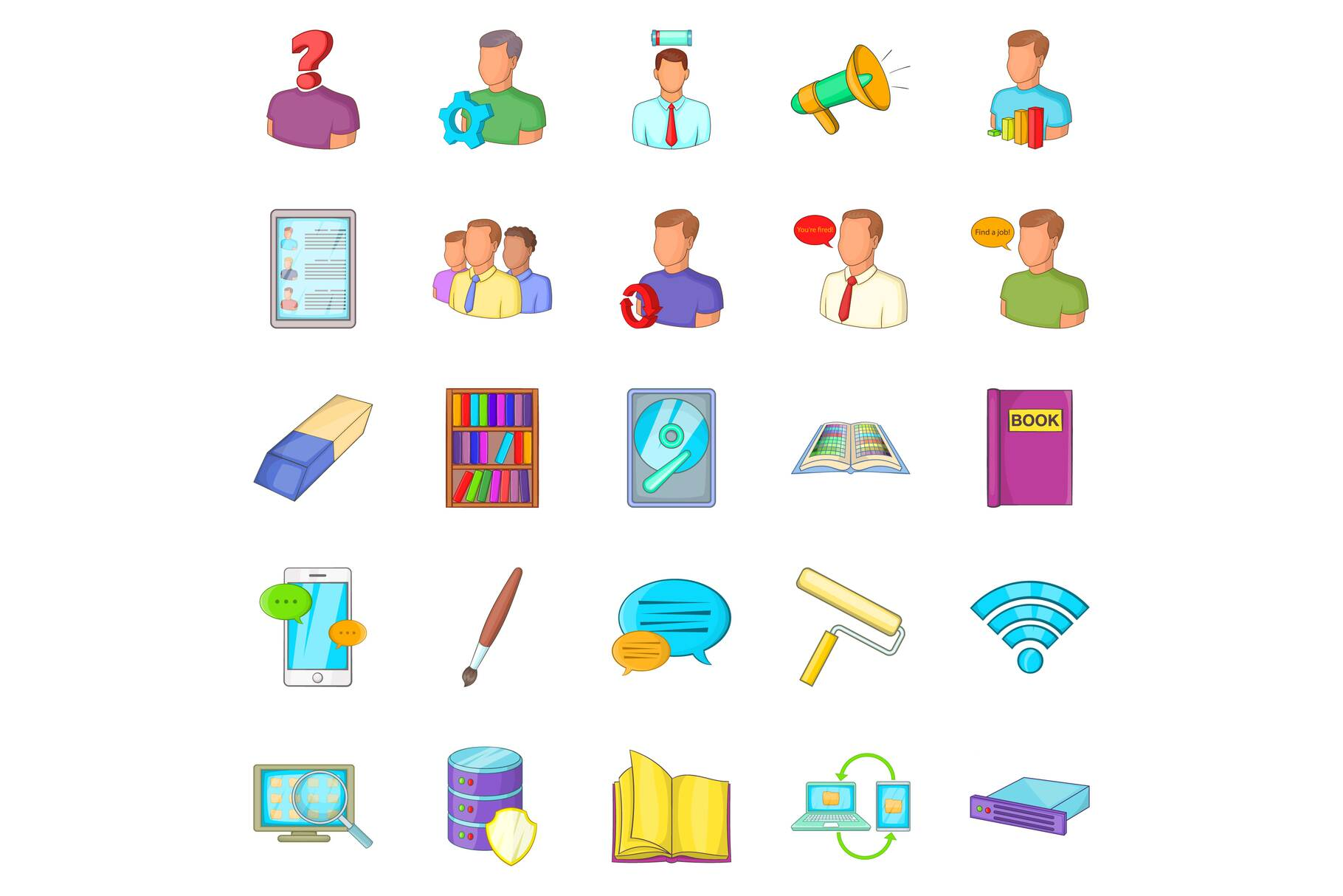 Remittance icons set, cartoon style example image 1