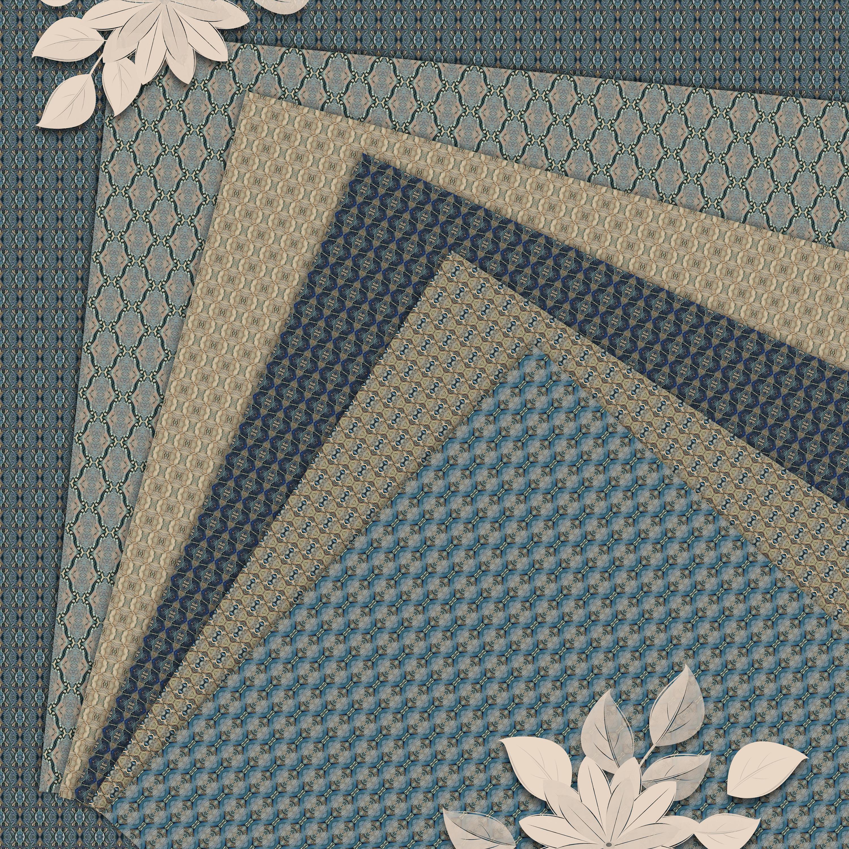 Old vintage blue-beige masculine Scrapbook Paper example image 2