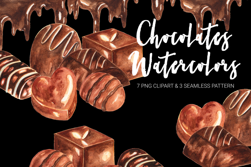 Chocolates Watercolor Clipart example image 1