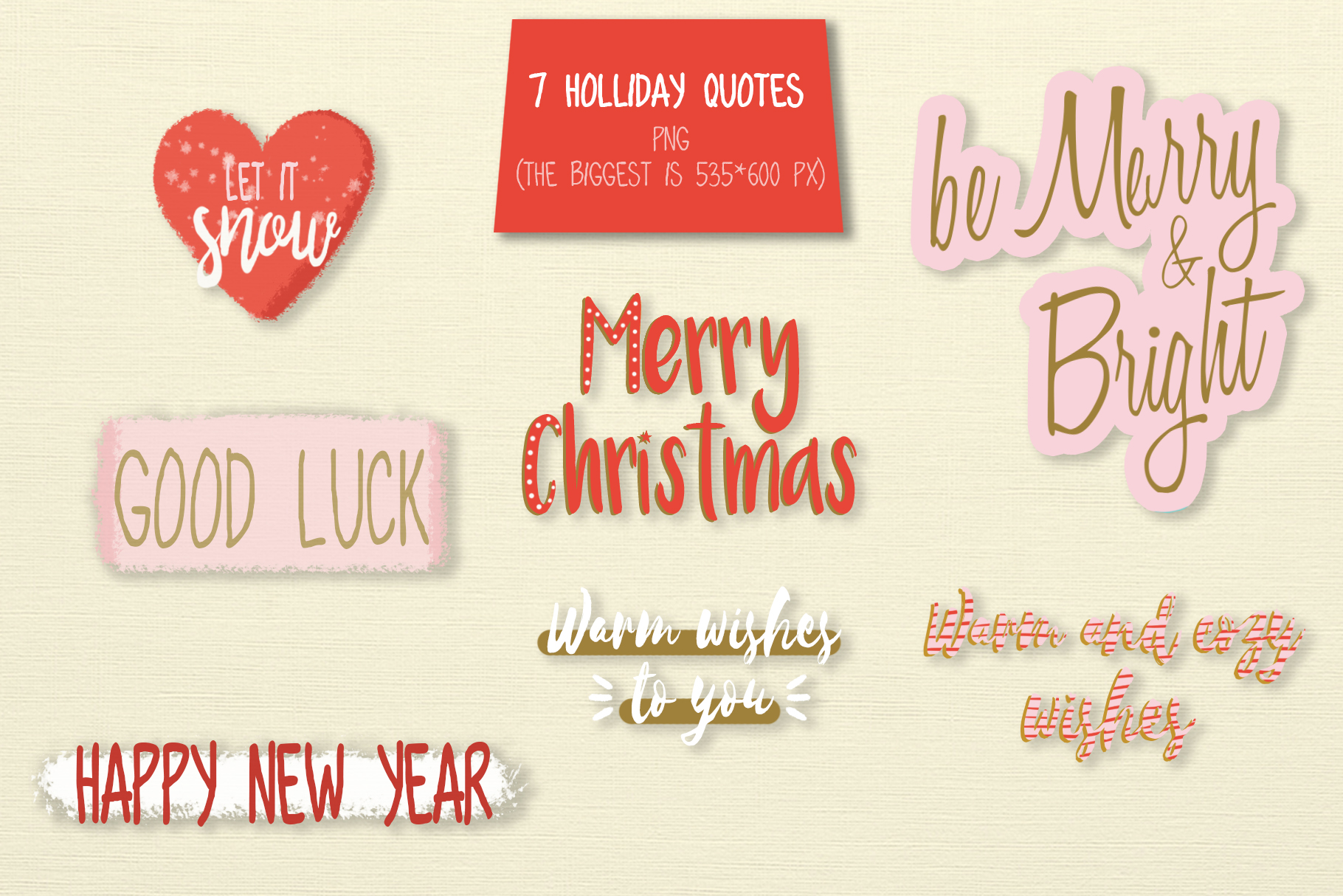 Merry Christmas hand drawn set example image 5