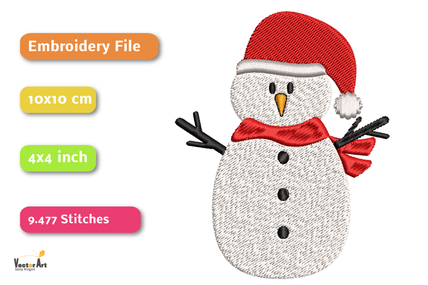 Snowman - Embroidery File - 4x4 inch example image 2