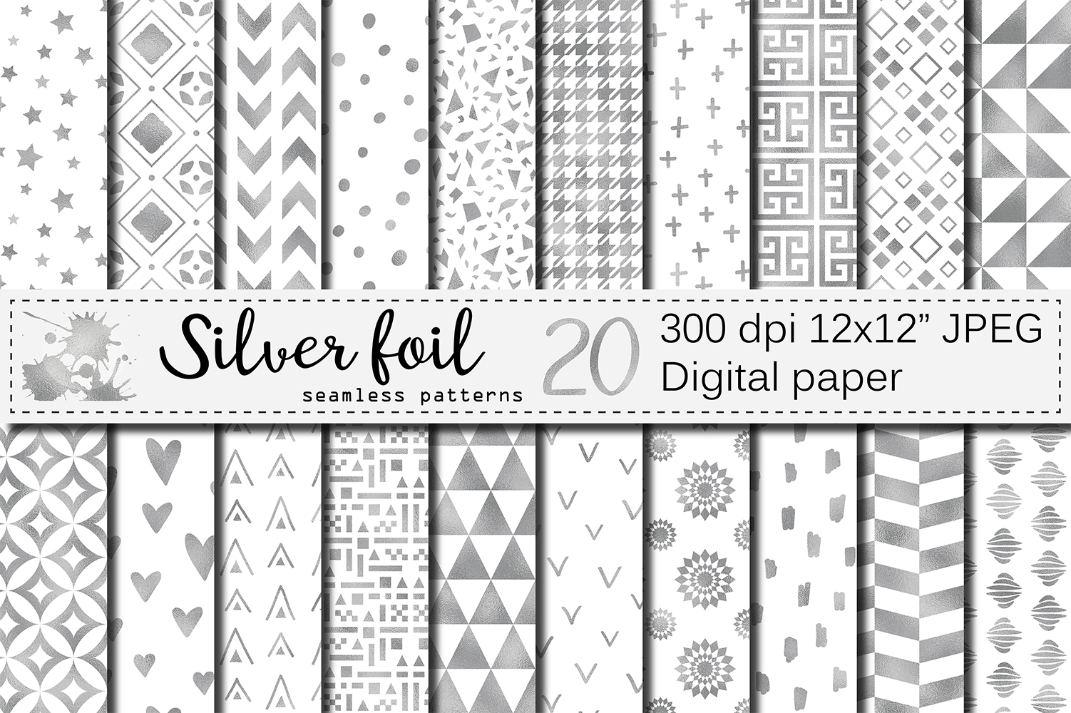 Silver foil seamless geometric patterns, digital papers example image 1
