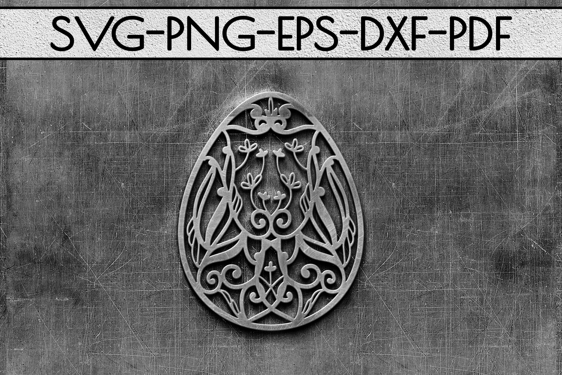 Dragon Egg Papercut Template, Easter Egg Hunter, PDF SVG DXF example image 2
