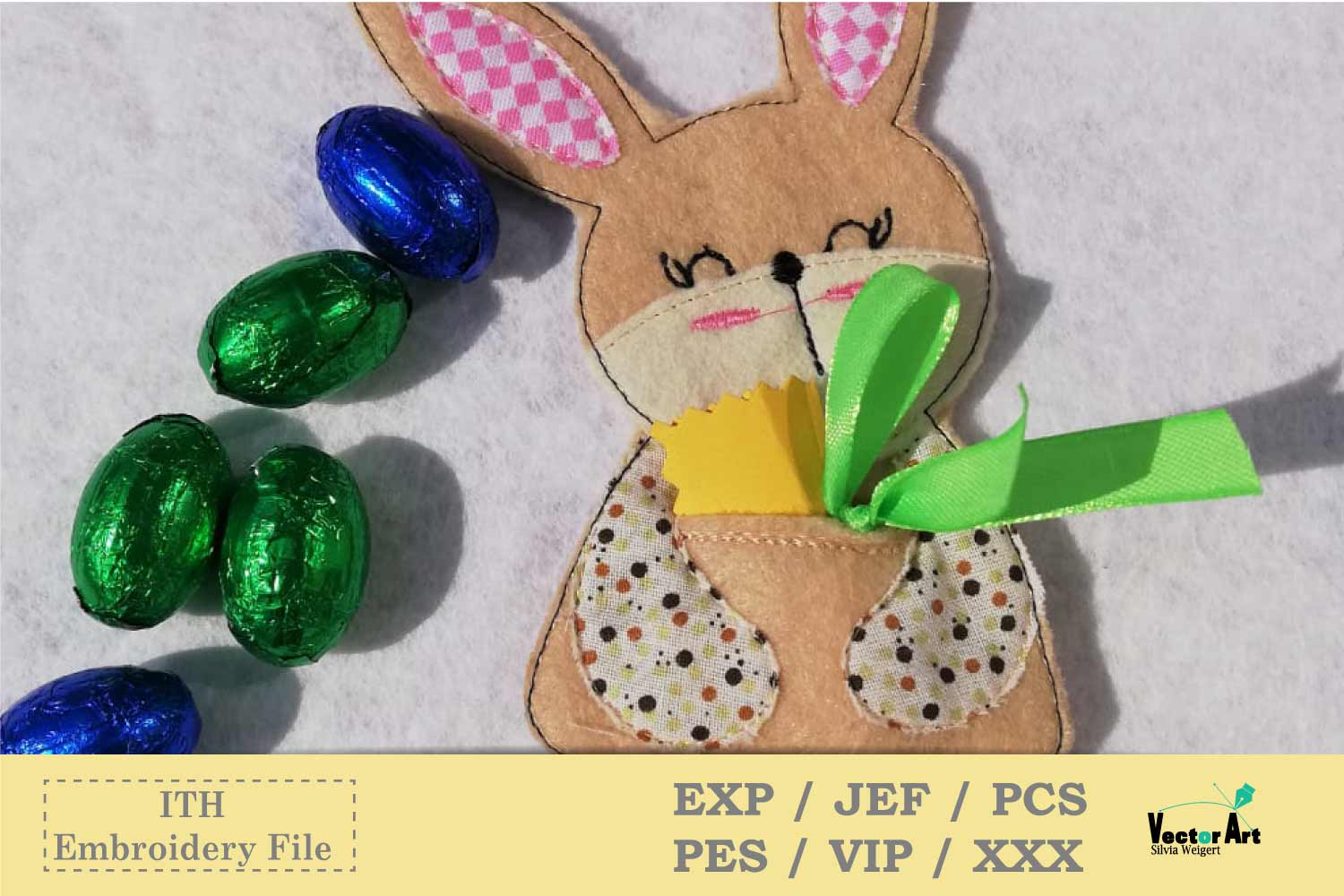 ITH - Money Bunny Gift holder - Embroidery File example image 1