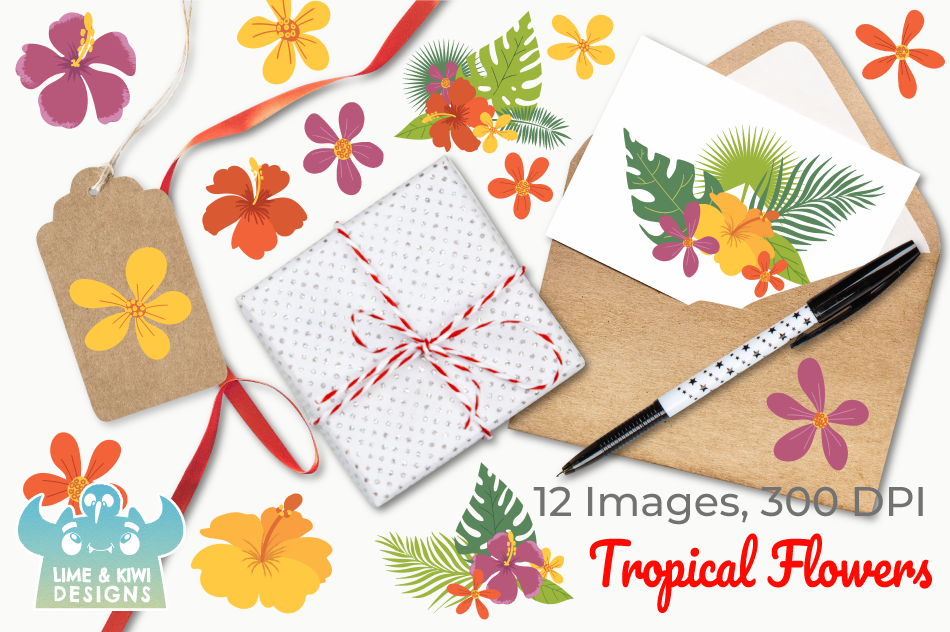Tropical Flowers Clipart, Instant Download Vector Art example image 4