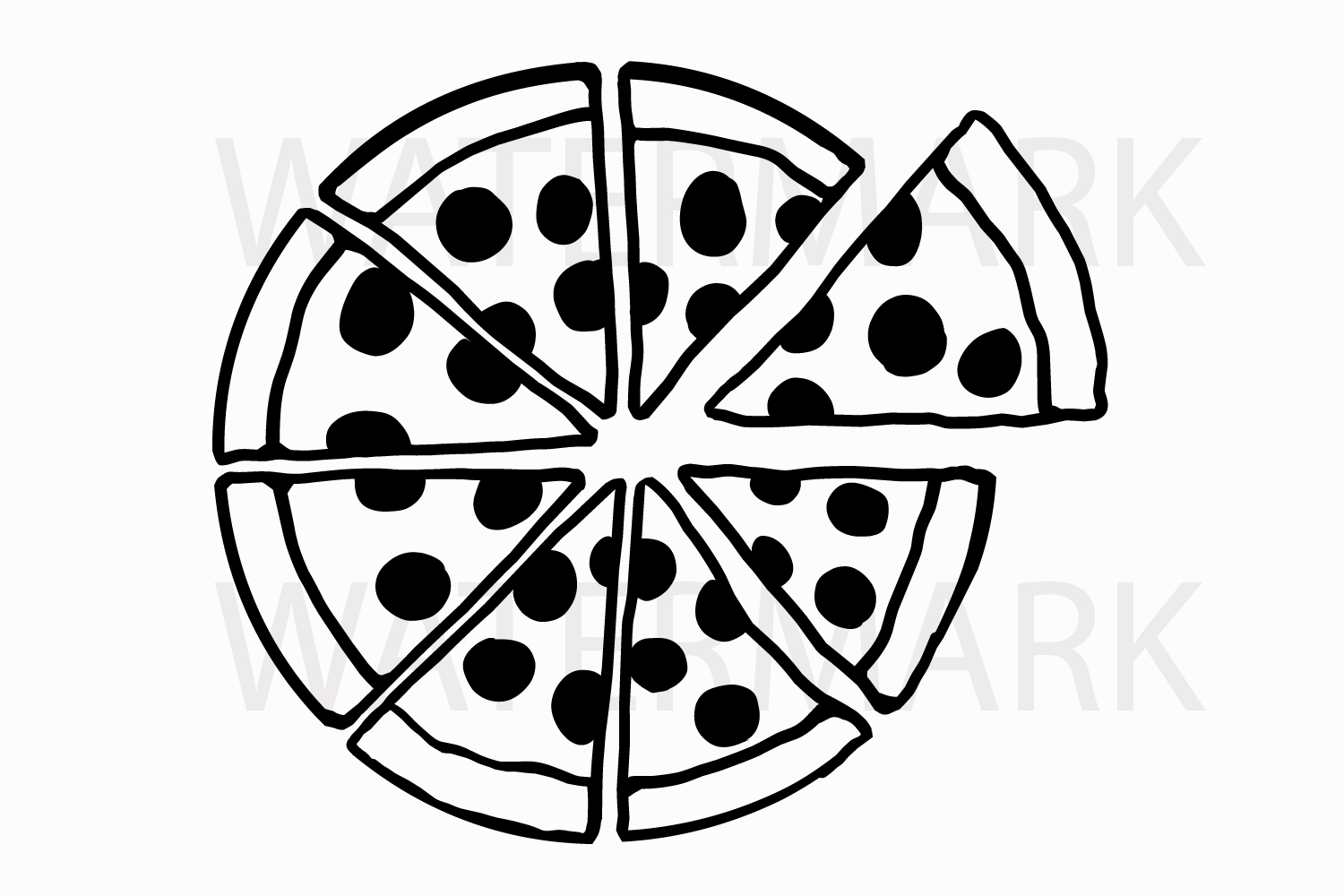 Pizza pieces - SVG/JPG/PNG Hand Drawing example image 1