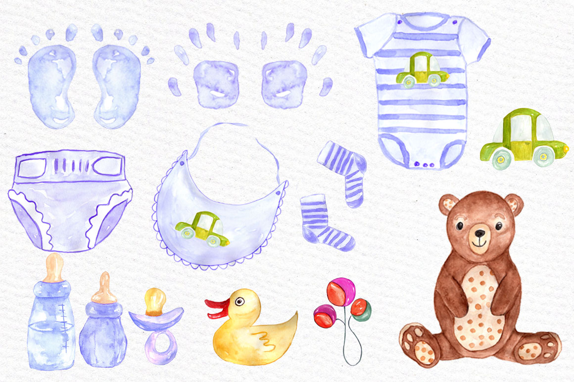 Watercolor boy baby shower clipart example image 3