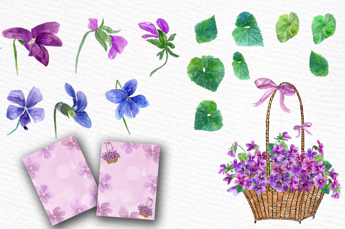 Watercolor violet flowers clipart example image 2