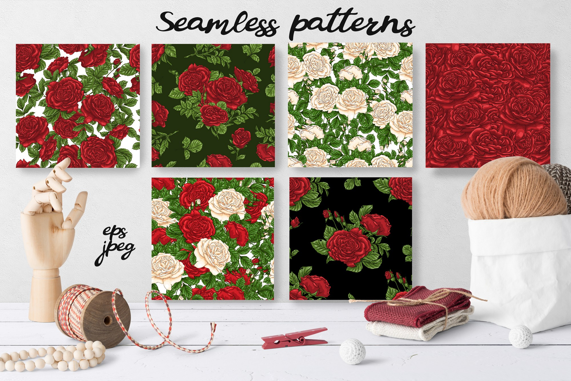 Roses – Vector Clip Art Set example image 3