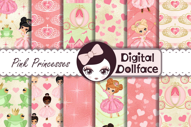 Princess and Frog Digital Paper / Magical Princess Carriage and Tiara Patterns example image 1