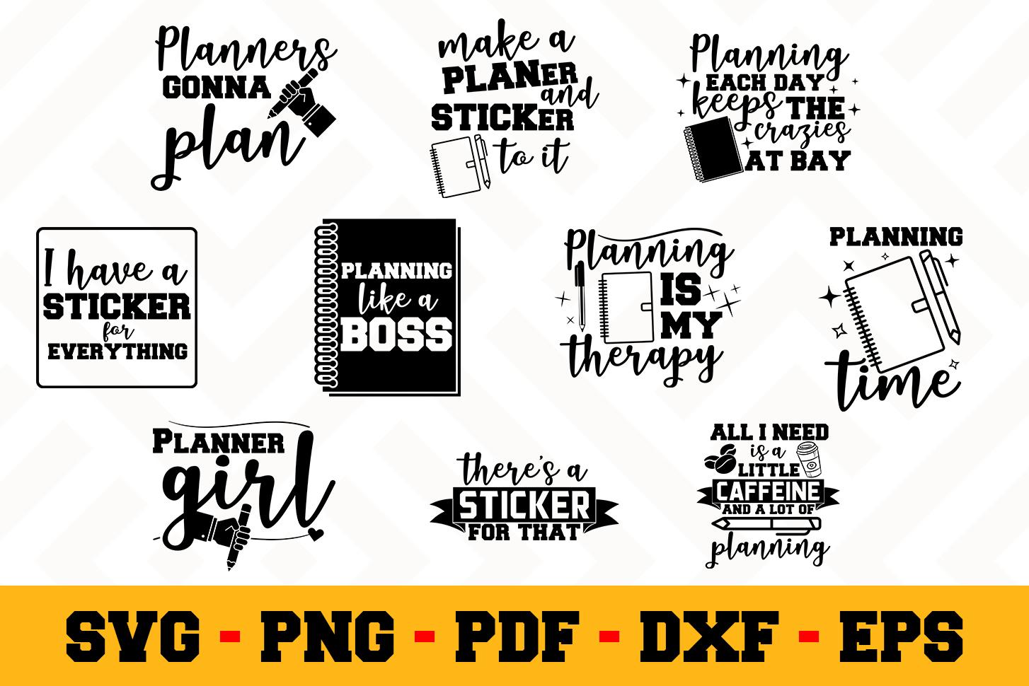 Planning 10 Designs Pack   Planner SVG Bundle example image 1