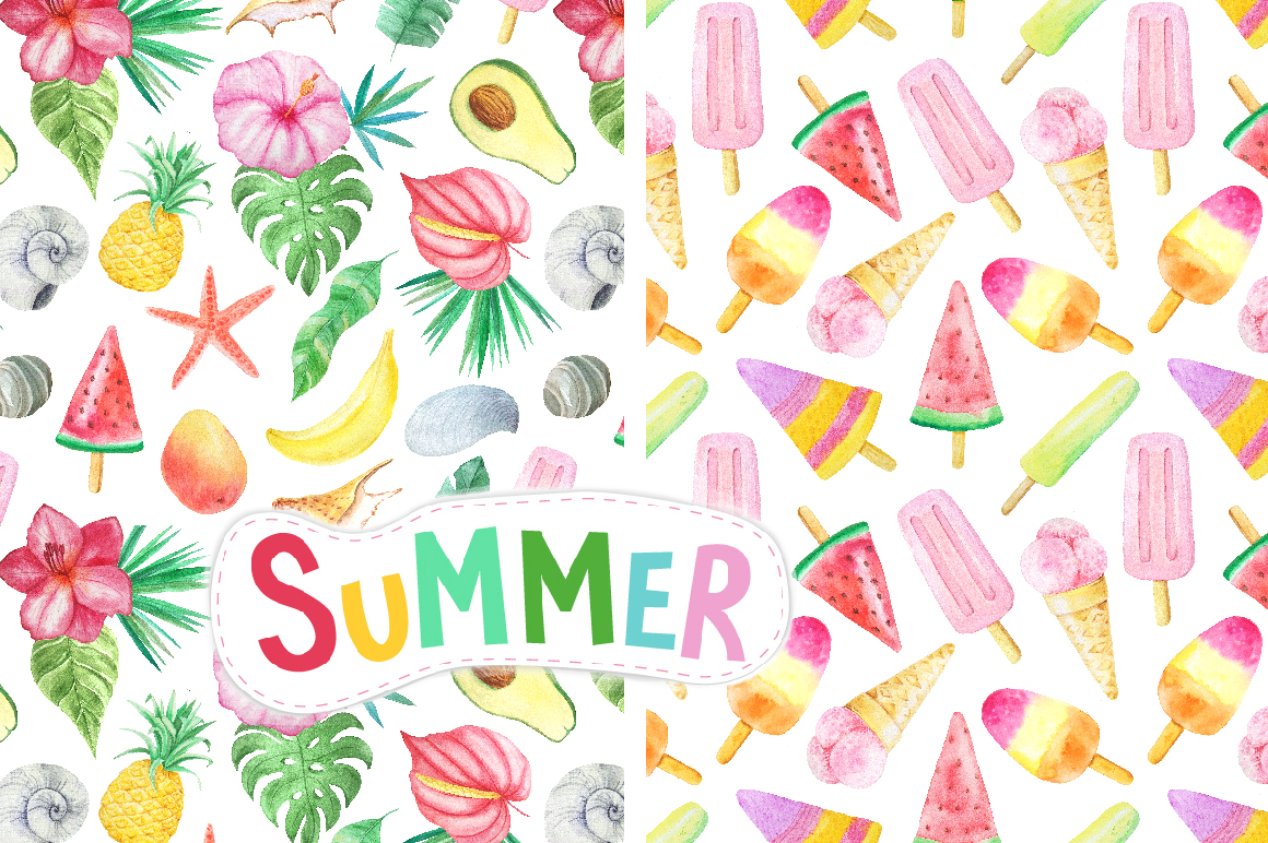 Watercolor Summer Vibes Set example image 4