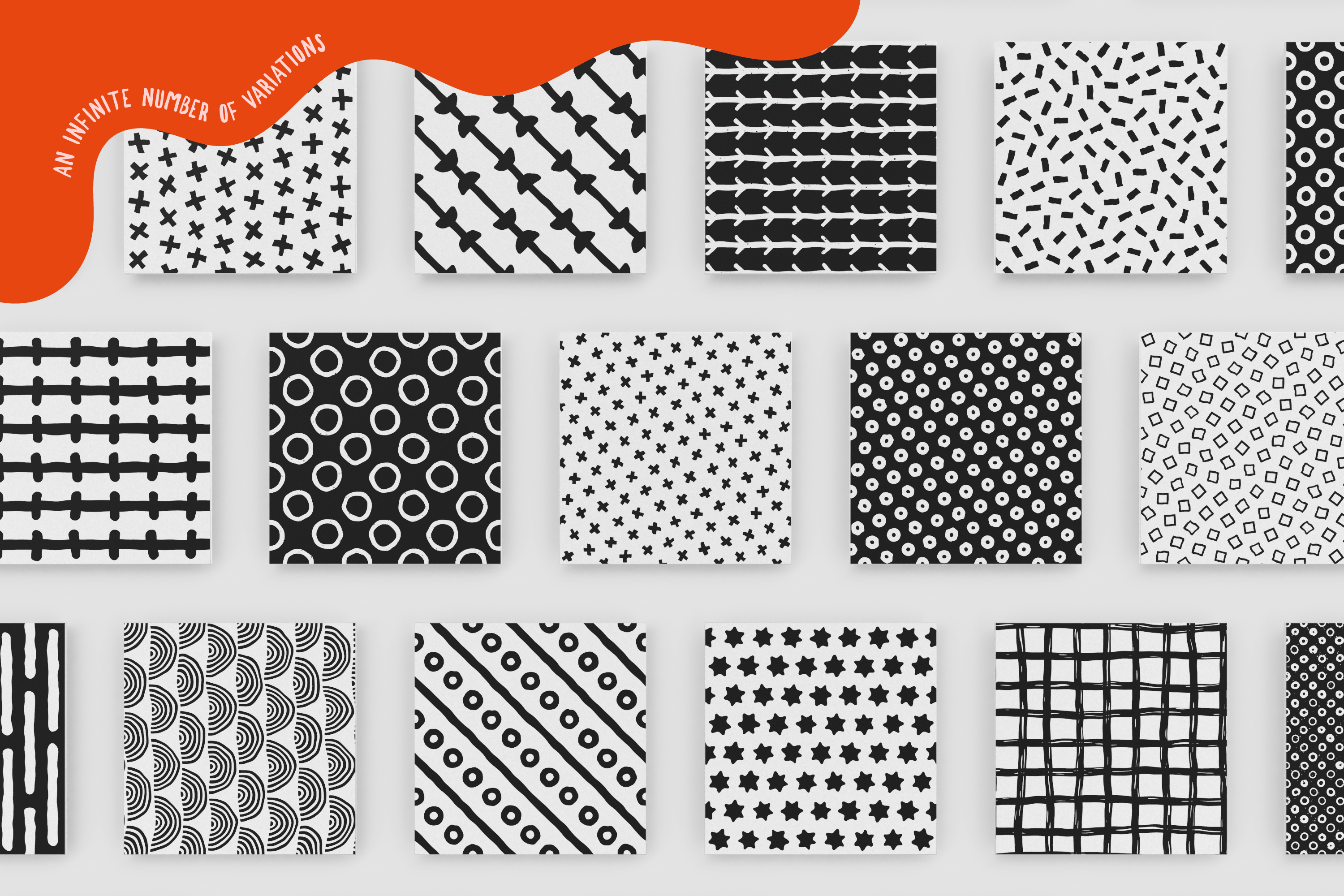 100 Hand-drawn seamless patterns collection example image 6